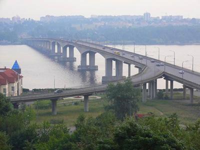 Кострома. Мост через реку Волгу .В туман