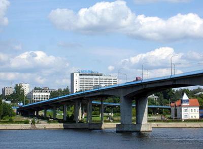 Кострома. Мост через реку Волгу .Вид с правого берега Волги