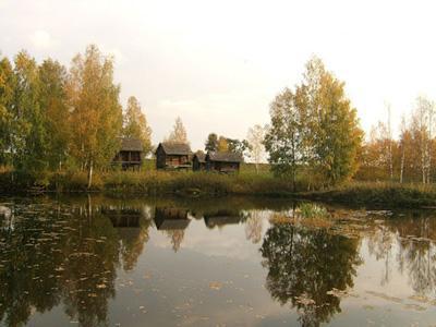 Кострома. Музей деревянного зодчества .Бани на сваях из д. Ведёрки