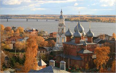 Кострома. Церковь Воскресения на Дебре .Вид на Волгу