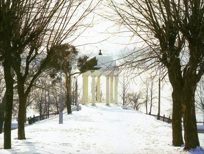 Кострома. Беседка Островского .Беседка зимой